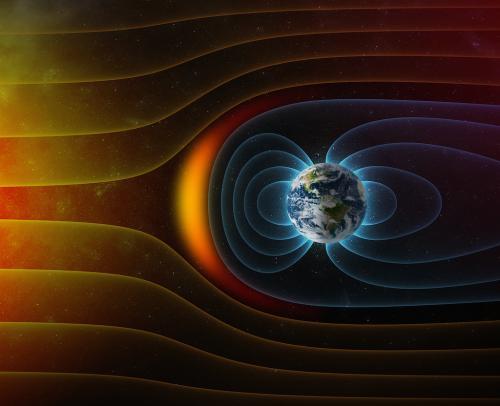 Illustration över hur jordens magnetfält skyddar mot solvinden